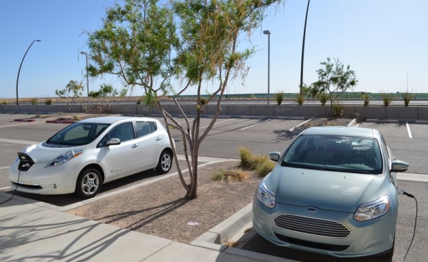 PEVs charging at CSE's solar research facility in Albuquerque.