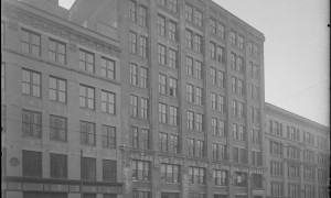 This historic photo shows a typical example of Fort Point Channel's distinctive architecture. Image courtesy of the Boston Wharf Company; taken from the BPL image collection