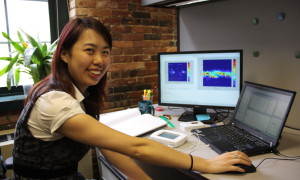 Fraunhofer CSE intern Angela Qin analyzing residential thermostat data.