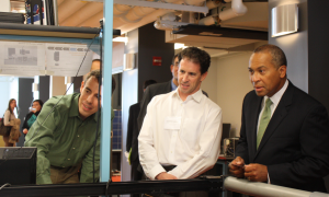 Governor Patrick tours Fraunhofer CSE's solar research labs.