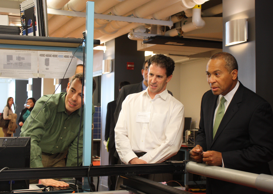 Following his presentation, Governor Patrick toured Fraunhofer CSE's solar research labs.