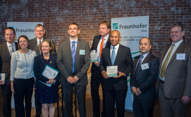 From Left to Right: Prof. Dr. Georg Rosenfeld, President of Fruanhofer USA; Rolf Schuette, German Consul General for the New England States in Boston; Maeve Vallely Bartlett, Secretary of Energy and Environmental Affairs (EEA); Dr. Christian Hoepfner, Director of Fraunhofer CSE; Dr. Philipp Ackermann, Deputy Ambassador of Germany to the US; Deval Patrick, Governor of the Commonwealth of Massachusetts; and Mihn Le,  Director of the Solar Energy Technologies Office at the DOE.  ©Fraunhofer CSE