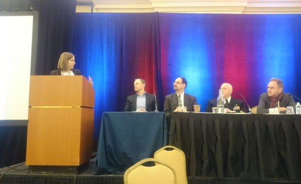 Fraunhofer CSE's Johanna Wolfson moderating the MITEC panel, which featured Eric Bielke (GE), Tibor Toth (MassCEC), Captain Goudreau (U.S. Navy), and Tom Jenson (Joule Unlimited).