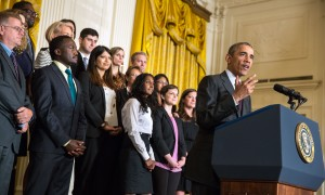 President Barack Obama speaking at the first White House Demo Day, where the 80 winners of the SBA 2015 Growth Accelerator Competition were announced. Photo source: White House YouTube